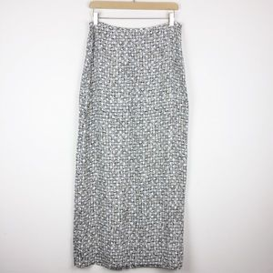 Vintage 90s maxi skirt black white checker floral